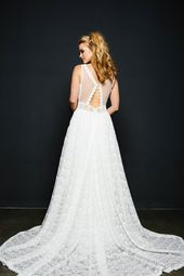 Boho wedding dress with train