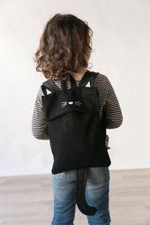 Cat backpack, Black Cat Backpack, Black Backpack, Animal Backpack, Small Backpack, Cat Bag, Cute Bag, Weird bag, Children Backpack, Kids bag