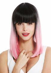 Ladies' Wig Shoulder Length Smooth Fringe Vamp Ombre Mix Black Pink Vk-2 4260624833040  eBay #Ad , #spon, #Length#Smooth#Fringe