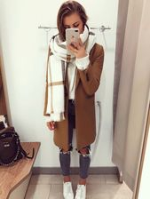 Beige coat and scarf
