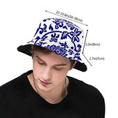 Bucket hat packable reversible chinese blue–white print sun hat fisherman hat cap outdoor camping fishing safari men women – Products