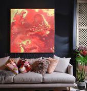 Korallen und Gold Wandkunst über Couch, große Leinwand Oversize Gemälde drucken, Pfirsich Korallen Wandkunst mit glänzenden goldenen Details für modernes Dekor