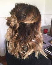 28 süße Frisuren für mittellanges Haar (beliebt für 2019) – #popular #style …   – Hair