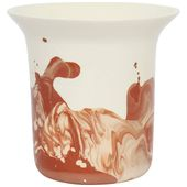 Contemporary Handmade Marbled Ceramic Vase – White, Peach and Brown