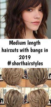 Mittellange Frisuren mit Pony im Jahr 2019 #Shorthairstyles #bobhaircutswithbangs …, #Bangs …