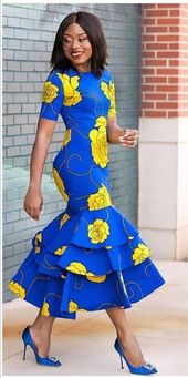 Gown midi à imprimé africain -Ankara robe-Midi-robe-Gown-Ankara gown avec des détails de péplum -vêtements africains -vêtements pour femmes. Gown de sirène