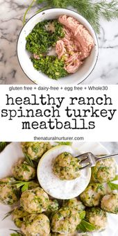 Healthy Ranch Spinach Turkey Meatballs