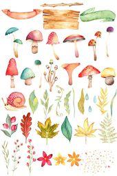 Watercolor mushroom clipart, fall clipart, woodland clipart, fall invitation, hand painted, aquarel mushroom, thanksgiving, aquarel autumn