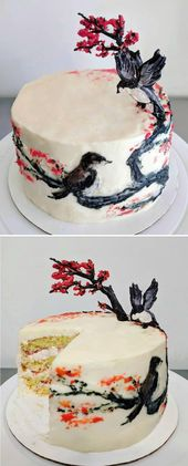 Chinese ink painting-inspired orange cake with whipped cream cheese frosting and…