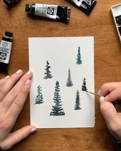 Learn to paint watercolor pine trees!