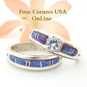 Size 9 Engagement Bridal Wedding Ring Set Purple Fire Opal Native American Silver Jewelry WS-1450 Special Buy Final – bridal wedding jewelry