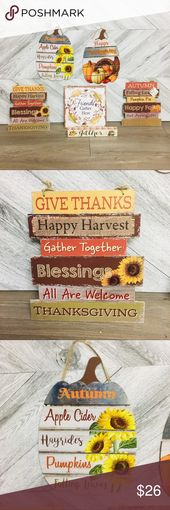 6 Pc Fall/ Harvest/ Thanksgiving Decorative Signs 6 piece bundle of decorative s…