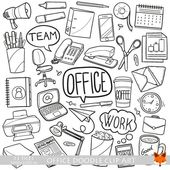 Vector office work items objects doodle icons clipart scrapbook set artwork hand drawn coloring line art design scrapbooking illustration
