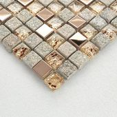 Gray and Rose Gold OX022-11.7″x11.7″ Stone Mosaic Mixed Glass & Stainless Steel Accent Wall Tile, Clear Crystal and Metal Backsplash Tiles