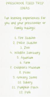 12 Ideen für die nächste Exkursion Ihres Vorschulkindes   – Child Care Center