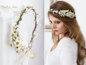 Daisy Flower Crown, Wedding Tiara Bridal flowers, Fairy Crown,Floral garland, Festival or Bridal Hair Wreath, Hair Flowers #bridalhairflowers Braut Bl...