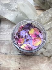 Crystal Candle, Flower infused Candle, Witches Brew Candle