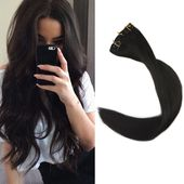 Details about Full Shine 150g Clip in Hair Extensions Real Hair Color #1B Black 26-28″ Thick