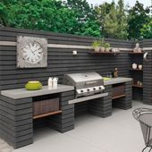 Ideas for the Outdoor Kitchen – Pavestone Paving-Manmade & Moodul-Black WALL COP