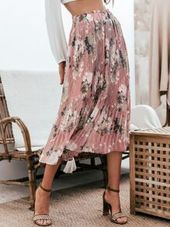 Jupe plissée à imprimé floral simple à la taille et à volants 24.00 USD   – Savvy Bargainistas