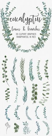 WATERCOLOR EUCALYPTUS GRAPHICS, commercial use, muted watercolor florals, eucalyptus clipart, wreaths, modern botanicals greenery leaves