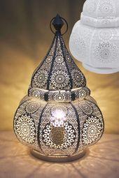 Orientalische Tischlampe Malha – Weiß   – Einrichtung