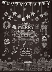 Set of Hand-drawn Outlined Christmas Doodle Icons on Chalkboard…
