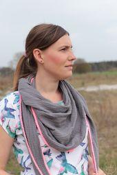 Sewing instructions: Triangular scarf sew on muslin  – DIY