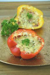 Pimientos rellenos con un fantástico relleno de pizza: receta baja en carbohidratos   – low carb