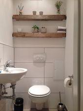 Modern meets rustic, wood beams shelf, guest toilet