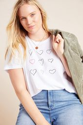 Petite Kera Till Hearts Living Beyond Breast Cancer Graphic Tee in White Size: Xs P, Women's Tees at Anthropologie