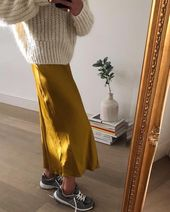 Silk skirt midi long fall look yellow a-line skirt outfit Silk slip bias saffron wear street style looks Silk fall trends long women skirt