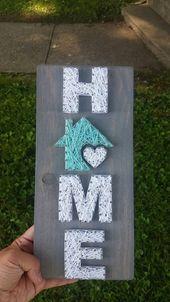 Small Home String Art, zuhause ist, wo das Herz ist, Wohnkultur, zuhause Zeichen, benutzerdefinierte Dekor