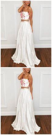 Zweiteiliges trägerloses bodenlanges weißes Abendkleid mit Applikationen, AE396