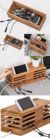 Bambus Holz Ladekabel Organizer iPad Handy Ladestation Dock Holde
