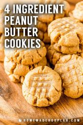 4 Ingredient Peanut Butter Cookies! These flourles…