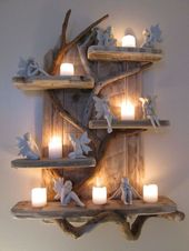 Magical Unique Driftwood Shelves Solid Rustic Shabby Chic Nautical Artwork in Home, Furniture…