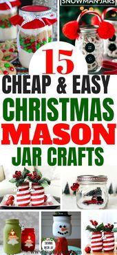 15 Fabelhafte und festliche Weihnachten Einmachglas Handwerk   – Christmas Mason Jar Crafts