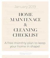 La lista de verificación de enero de 2019, parte de un plan de limpieza y mante…