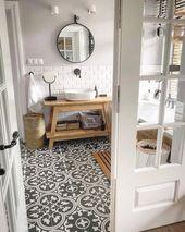 Badezimmer mit Bodenfliesen aus Zementimitat Dekor #badezimmer #bodenfliesen… – Badezimmer ideen