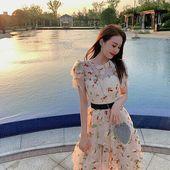 (eBay link) Yu Yu Yu 2019 summer dress new loose A-word net sarong back sling Fr…