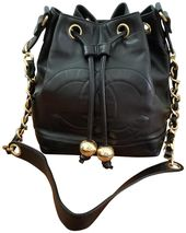 Chanel Drawstring Elegant Cc with Pouch Black Lambskin Leather Shoulder Bag