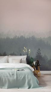 Our Peach and Green Ombre forest wall mural features a lush landscape of trees …