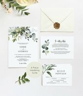 Greenery Wedding Invitation, Wedding Invitation, Printable Wedding Invitation Template, Instant Download, Edit with TEMPLETT, WLP-HER 1254