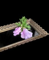 Vintage Mirror Vanity Tray Rectangular Gold Tone Metal Hollywood Regency Perfume Tray Dresser Tray Jewelry Tray Boudoir Bathroom Organizer