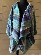 """Cyan Sunrise"" Handwoven Coat of Handspun wool and alpaca silk"