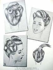 """Vintage Pin Up Frisuren aus der Kunst und dem Handwerk des Frisierens """"1958, ursprünglich 1931 veröffentlicht. #Uphairstyles #up #hairstyles #vintage - -"""