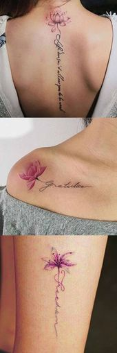 Lotus Flower Tattoo Ideen bei MyBodiArt.com – Script Spine Tatt für Frauen – Flora #flowertattoos – Flower Tattoo Designs