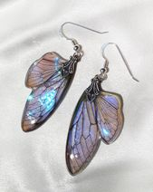 fairy wing earrings, statement earrings boho chic jewelry, something blue for bride pagan wedding je – Products