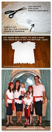 Pirate Costumes DIY – no sew. Article is: 15 things to pack for a Disney Cruise….